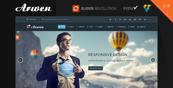 Arwen – One Page Parallax WordPress Theme (Creative)