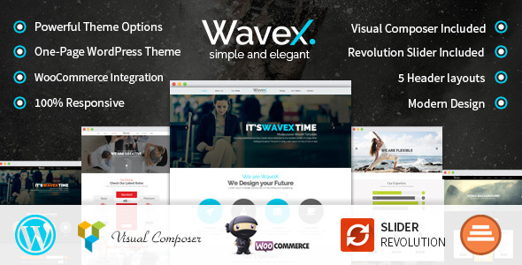 WaveX – One Page Parallax WordPress Theme (Creative)