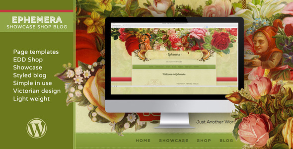 Ephemera–Showcase EDD Shop Blog In Victorian Style (WordPress)