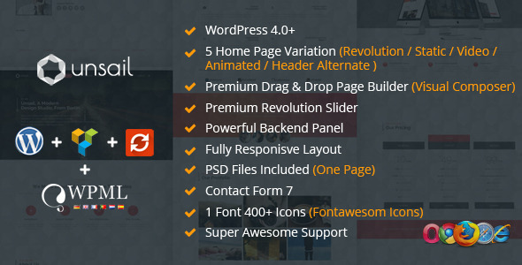 Unsail One Page WordPress Parallax Theme (Portfolio)