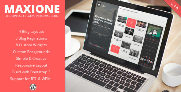 MaxiOne – Creative Personal Blog WordPress Theme (Personal)
