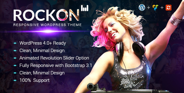 Rockon Responsive WordPress Theme (Nightlife)